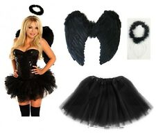 Girls Outfit Angel Devil Fairy Feather Wings Halo Fancy Dress Costume Hen Party