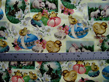 VINTAGE EASTER PRINT EGGS RABBITS CHICKS  100% COTTON FABRIC 21x43 INCHES