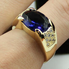Size 11 Men's Jewelry Solitaire Sapphire 10KT Yellow Gold Filled Ring