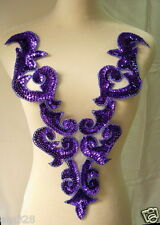 BD03-5 Purple Front Bodice Sequin Bead Applique Motif Tutu/Dancewear/Belly Dance