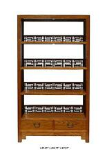 Chinese Old Solid Wood Happiness Carving Display Cabinet / Book Shelf JZ173