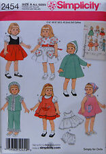 "Simplicity 2454 Sewing PATTERN for Vintage 16"" & 18"" American Girl DOLL CLOTHES"