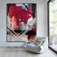 "NEW SUPERB LARGE HUGE ORIGINAL GUGI GOO  ""QT8"" RED ABSTRACT ACRYLIC PAINTING"