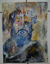 "Art Brut Singulier Outsider Raw Painting ""Le Christ des Peintres"" 24*32 Marjan"