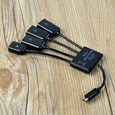 Black 4 in 1 Micro USB Hub Male to Female Three USB 2.0 Host OTG Adapter Cable