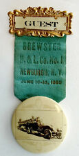 ANTIQUE Vintage BREWSTER HOOK LADDER Fireman Fire Truck NEWBURGH NY Button Badge