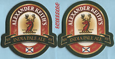 2 ALEXANDER KEITH'S French / English BEER MATS COASTERS SOUS-BOCKS BIERDECKELS