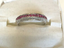 (14)RUBIES  & (24)DIAMOND RING OR BAND 10K WHITE GOLD SIZE 6.75 GORGEOUS LOOK