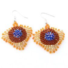 GOLDEN BROWN BLUE BEADED EGYPTIAN BEAD WORK EARRINGS CHANDELIER 31/2