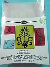 Sizzix Embossing Folders Peacock Textured Impressions 657818 4 Piece Set NIP