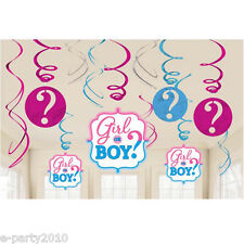 BABY SHOWER Girl or Boy HANGING SWIRL DECORATIONS (12) ~ Gender Reveal Supplies