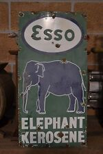 Vintage Original Porcelain Green Esso Elephant Sign