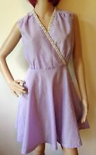 Vintage 60s Beaded Dress Mini Mod Scooter Size 8 10 Small Go Go Lilac