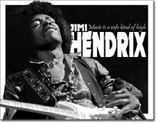 """16"""" X 12.5"""" TIN SIGN JIMI HENDRIX MUSIC IS A SAFE KIND OF HIGH METAL SIGN NEW"""