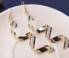 Women Retro Bead Spiral Eardrops Long Dangle Hook Earrings Fashion jewelry