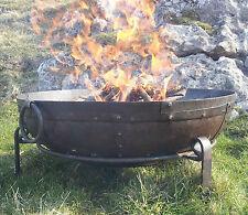 80cm Hand Worked Wrought Iron Garden Fire Bowl Fire Pit (Indian Kadai / Karahi)