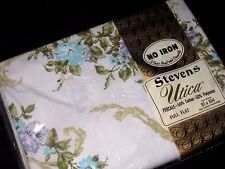 NIP/Vintage Blue Canterbury Floral FULL Size Flat Bed Sheet Made in USA by Utica