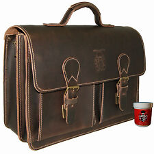 Briefcase Laptop bag PASTEUR brown leather - Made in Germany - BARON of MALTZAHN