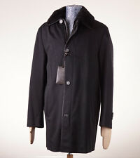 NWT $24,795 BRIONI Black Leather-Trimmed Cashmere Coat w/ Nutria Fur Lining 50/M