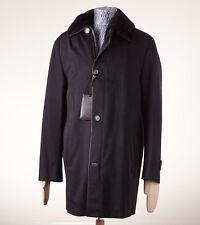 NWT $24,795 BRIONI Black Leather-Trimmed Cashmere Coat w/ Nutria Fur Lining 50/M