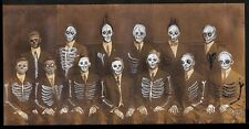 GUS FINK outsider Art painting ooak ORIGINAL modern antique DEAD POET SOCIETY