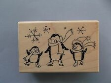 STAMPENDOUS RUBBER STAMPS POLKA PENGUINS NEW STAMP