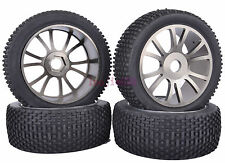 RC 1:8 Off-Road Buggy Model Car Rubber Tyres Tires Metal Wheel Rims Gray M804T1