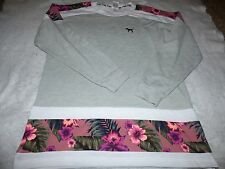 VICTORIA'S SECRET LOVE PINK LARGE Varsity Crew Sweatshirt Tropical Floral NWT