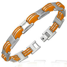 Men's Orange Rubber & Silver S/Steel Contemporary Bracelet by Urban Male