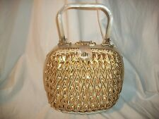 Vintage Retro Gold Glazed straw wicker handbag purse mother of pearl Lucite  VGC