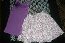 4 5 Faded Glory purple tank Cherokee purple floral skirt 5T outfit  VGUC