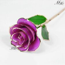"Violet Real Rose Dipped in 24k Gold 11"" New In Free Gift Box Home Decoration New"