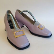 Cerruti 1960s Style Vintage 1980s Pale Lilac Leather Shoe With Buckle UK 6 EU 39