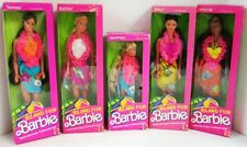 Set of 5 Island Fun Barbie Dolls which include the Blonde Barbie, African Amer..