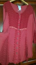 Woman's 1X red tunic Lacey Acid Washed Top embroidered viscose The Paragon NWT!
