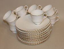 Crown Staffordshire White Ribbed Gold Rim Pattern A807 17 Snack Plates & 13 Cups