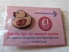 Cancer Research UK Charity Pin Badge -Duck with Pink Ribbon Breast Cancer