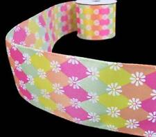 3 Yards Summer Spring Daisy Flower Pink Yellow Green Jester Diamond Wired Ribbon