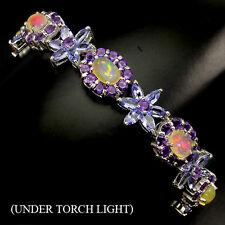 SUMPTUOUS NATURAL FIRE OPAL,AMETHYST,TANZANITE STERLING 925 SILVER BRACELET 7.5#