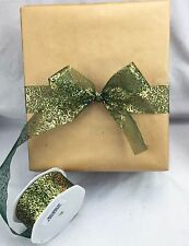 20m Roll Festive Christmas Metallic Organza 38mm Ribbon Great for Gift Wrapping