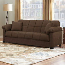 Brown Sleeper Sofa Convertible Couch Full Bed Futon Living Room Furniture Guests