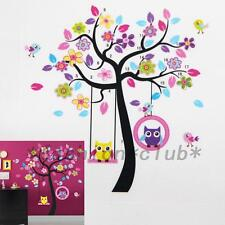 Cute Owl Bird Tree Swing Wall Sticker Decal For Kids Baby Nursery Room Decor