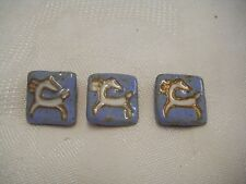 3 VINTAGE POTTERY BUTTONS