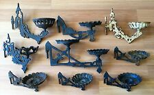 OLD VTG ANTIQUE CAST IRON SWING ARM PART ORNATE FLORAL WALL LAMP HOLDER LOT OF 9