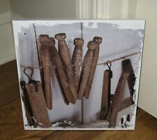 Canvas Laundry Room Clothes Pins Wall PICTURE*Primitive/French Country Decor