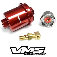 RED HIGH FLOW FUEL FILTER & 0-100 PSI PRESSURE GAUGE FOR HONDA CIVIC D16 EK
