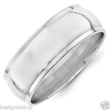 8mm Size 6 Polished Half Round Edge Wedding Band Ring Real Solid 10K White Gold