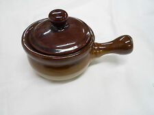 VINTAGE STONEWARE SOUP BOWL - CROCK WITH LID & HANDLE  VERY NICE