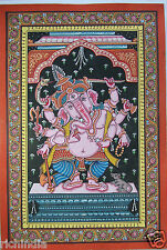 India Hindu God Ganesha Hand painted miniature Painting Tantra Tantric Art Yoga