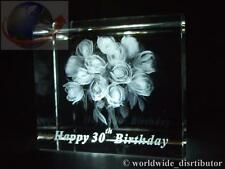 LASER CRYSTAL PAPERWEIGHT HAPPY 30th BIRTHDAY ROSES BOUQUET 3573 GIFT BOXED